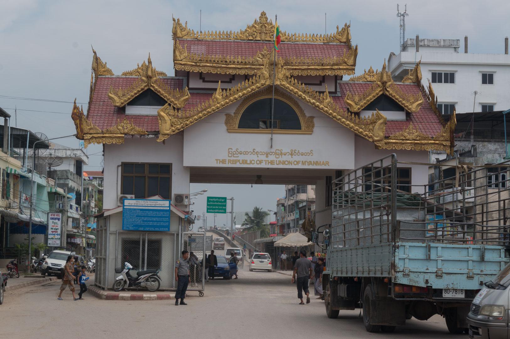 Grenze Myawaddy Mae Sot Myanmar Thailand